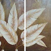 """Картины и панно ручной работы. Ярмарка Мастеров - ручная работа Модульная картина """"Золотые листья"""". Handmade."""