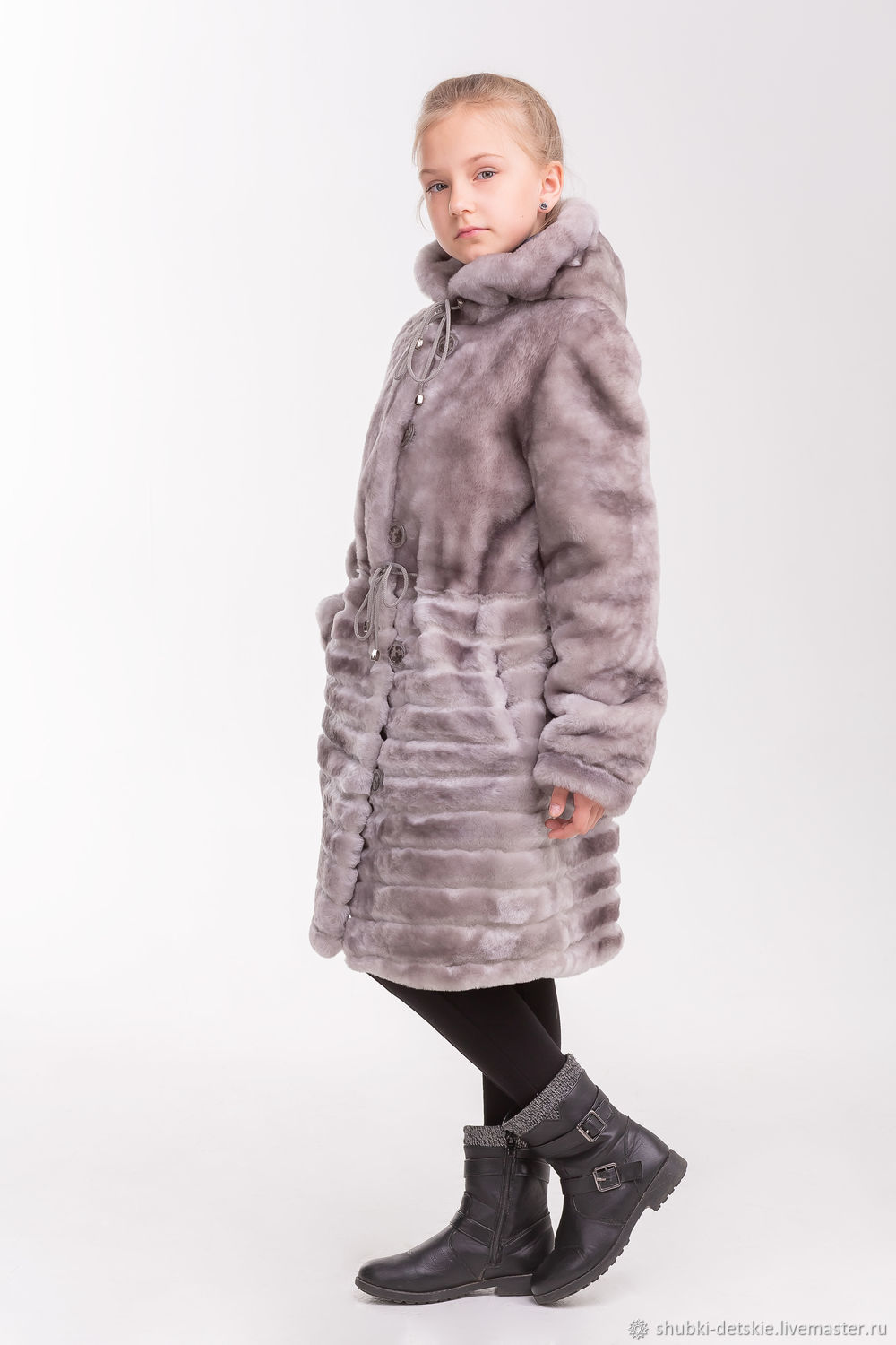 7fb357f8b978 Clothes for Girls handmade. Grey Mouton coat for girl. Kids fur coat. Online  ...