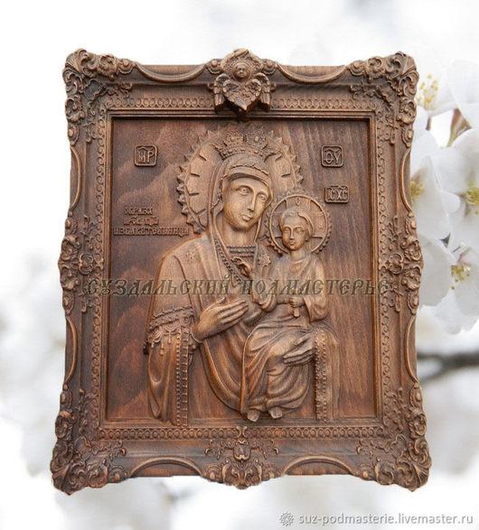Иконы ручной работы. Ярмарка Мастеров - ручная работа. Купить Икона Божией Матери Избавительница деревянная резная. Handmade. Коричневый