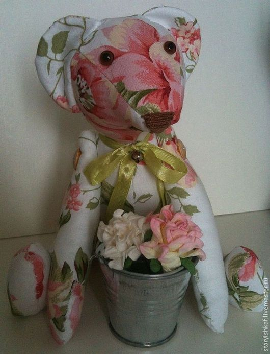 """Игрушки животные, ручной работы. Ярмарка Мастеров - ручная работа. Купить Мишка текстильный """"Я весь такой Шебби!"""". Handmade. Бледно-розовый"""