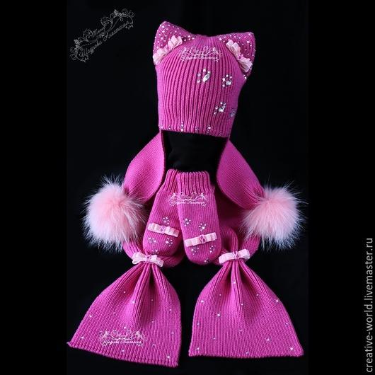 Шапки и шарфы ручной работы. Ярмарка Мастеров - ручная работа. Купить Теплая мериносовая шапочка-кошка. Handmade. Мериносовые шапочки