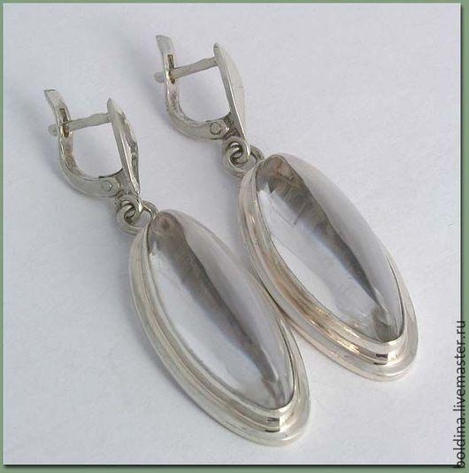 Серьги ручной работы. Ярмарка Мастеров - ручная работа. Купить Серьги серебряные с горным хрусталем. Handmade. Белый, серьги серебро