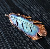 """Украшения ручной работы. Ярмарка Мастеров - ручная работа Яркая медная брошь или кулон из пера """"Синяя Птица"""", гальваника. Handmade."""