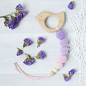 Одежда handmade. Livemaster - original item Teether teething toy with pink bird purple delicate. Handmade.