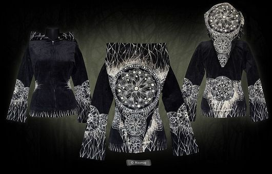 Верхняя одежда ручной работы. Ярмарка Мастеров - ручная работа. Купить Курточка из вельвета «Флора земли». Handmade. Черный, жакет