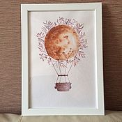 Картины и панно ручной работы. Ярмарка Мастеров - ручная работа Воздушный шар,кофейный, кофе с молоком, акварель, картина, подарок. Handmade.