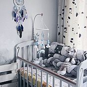 Работы для детей, handmade. Livemaster - original item Mobile in a crib made of felt and cotton - Blue whale. Handmade.