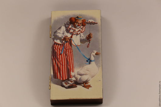 """Шкатулки ручной работы. Ярмарка Мастеров - ручная работа. Купить Шкатулка -купюрница""""Клоун на прогулке"""". Handmade. Коричневый, подарок на любой случай"""