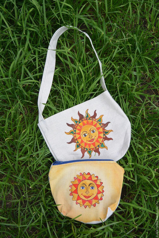 Льняные сумки с ручной росписью!