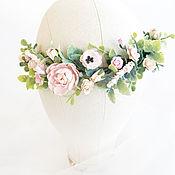 Украшения ручной работы. Ярмарка Мастеров - ручная работа Венок для прически, цветочный венок, веночек с розовыми цветами. Handmade.