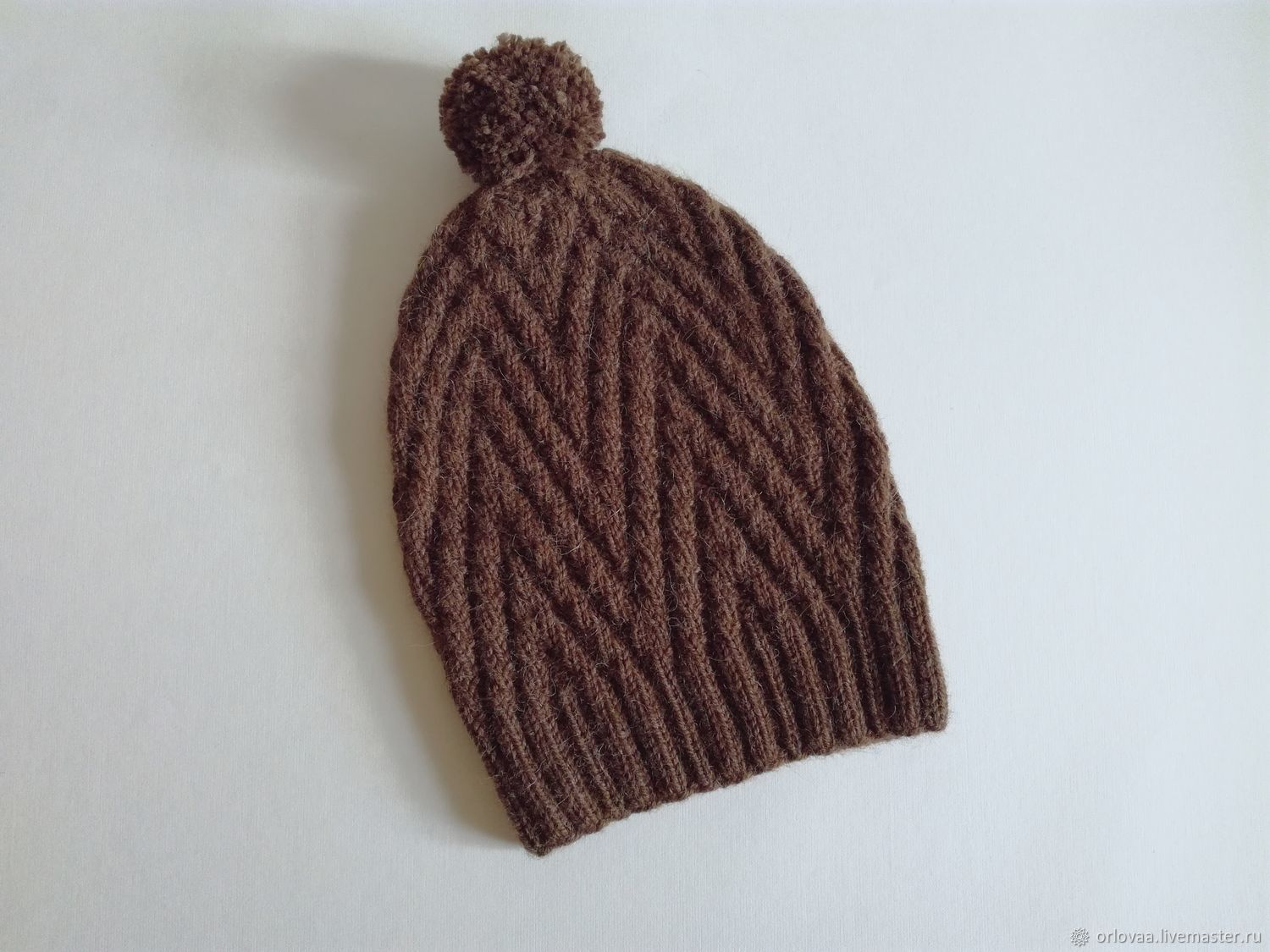Knitted hat made of wool with Alpaca 'brown', Caps, Moscow,  Фото №1