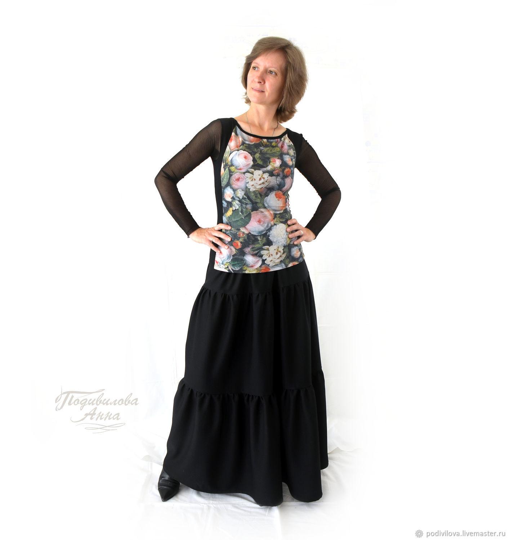 """Черная юбка макси """" Elegant """"осенняя,зимняя,из вискозы, Юбки, Мытищи,  Фото №1"""