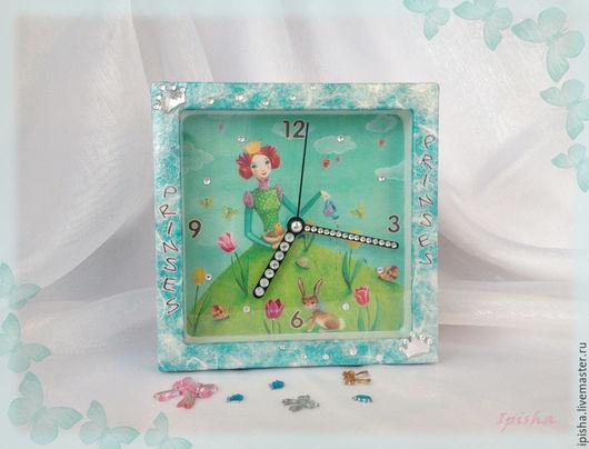 """Часы для дома ручной работы. Ярмарка Мастеров - ручная работа. Купить Детские часы""""Принцесса - Child clock Prinсess"""". Handmade. стразы"""