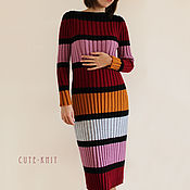 Одежда handmade. Livemaster - original item Women`s dress knitted ribbed striped. Handmade.