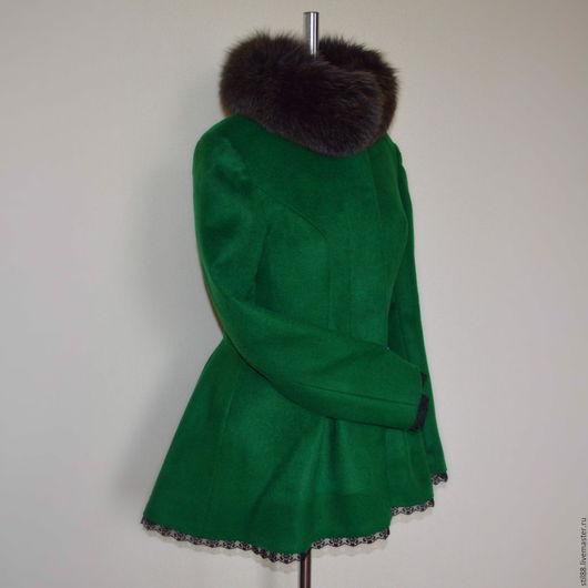 Верхняя одежда ручной работы. Ярмарка Мастеров - ручная работа. Купить Пальто Баска с мехом. Handmade. Тёмно-зелёный