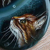 """Украшения ручной работы. Ярмарка Мастеров - ручная работа Кулон """"Кот и рыбка"""". Handmade."""