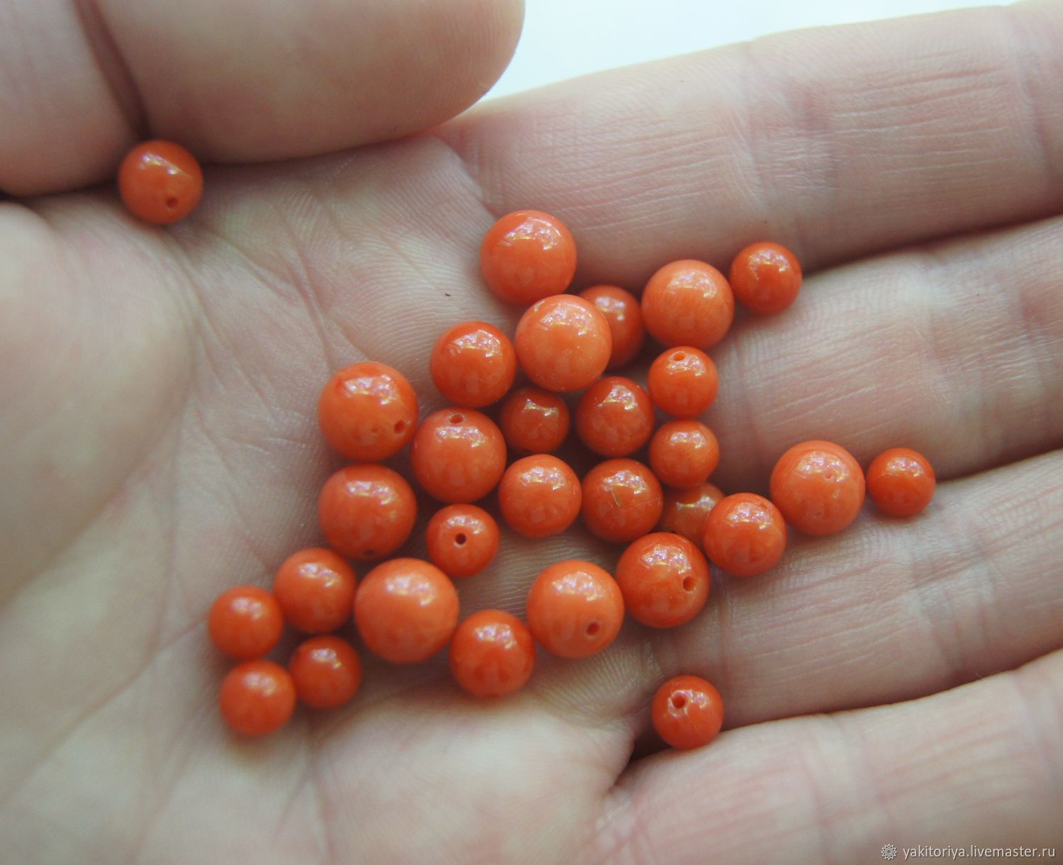 Natural coral beads orange polyvalence ball, Pendants, Moscow,  Фото №1
