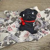 """Украшения handmade. Livemaster - original item Brooch """"Black Pug"""" / needlefelting brooch. Handmade."""