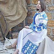 Одежда ручной работы. Ярмарка Мастеров - ручная работа Белое Вышитое платье. Льняное платье с длинным рукавом. Бохо платье.. Handmade.