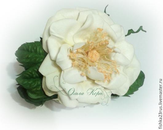 """Заколки ручной работы. Ярмарка Мастеров - ручная работа. Купить Заколка-краб для волос """"Чайная роза"""". Handmade. Разноцветный, ревелюр"""