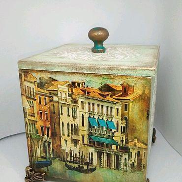 """Для дома и интерьера ручной работы. Ярмарка Мастеров - ручная работа Короб для чайных пакетиков, мелочей: """"Венеция"""" декупаж. Handmade."""