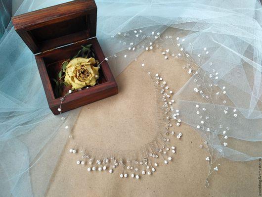 Свадебные украшения ручной работы. Ярмарка Мастеров - ручная работа. Купить На заказ! Свадебный комплект - украшение для волос+ ожерелье. Handmade.
