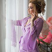 """Одежда ручной работы. Ярмарка Мастеров - ручная работа Будуарное платье """"Утро аристократки"""" - сиреневое длинное с кружевом. Handmade."""