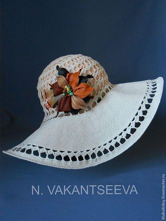 Шляпы ручной работы. Ярмарка Мастеров - ручная работа. Купить Шляпа летняя женская с цветком. Handmade. Бежевый, шляпка