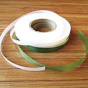 Материалы для творчества handmade. Livemaster - original item 5 mm silk ribbon for winding stems: green and white. Handmade.