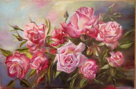 Картины цветов ручной работы. Ярмарка Мастеров - ручная работа. Купить Розы. Handmade. Комбинированный, розы, сад, лучи солнца