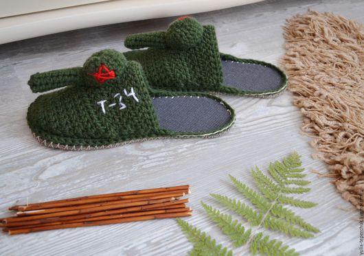 """Обувь ручной работы. Ярмарка Мастеров - ручная работа. Купить Мужские вязаные тапки """"Танки"""". Handmade. Тапки-танки"""