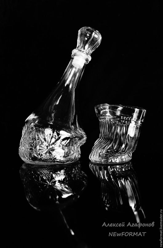 """Декоративная посуда ручной работы. Ярмарка Мастеров - ручная работа. Купить """"Удачный вечер"""". Графин+ три """"веселых"""" стакана. Handmade."""