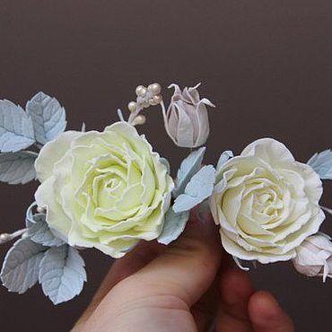 Свадебный салон ручной работы. Ярмарка Мастеров - ручная работа Цветочное украшение для прически из фоамирана, нежная веточка. Handmade.