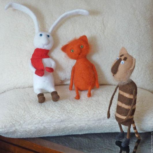 Игрушки животные, ручной работы. Ярмарка Мастеров - ручная работа. Купить Игрушки из шерсти Звериная компания. Handmade. Игрушка кот