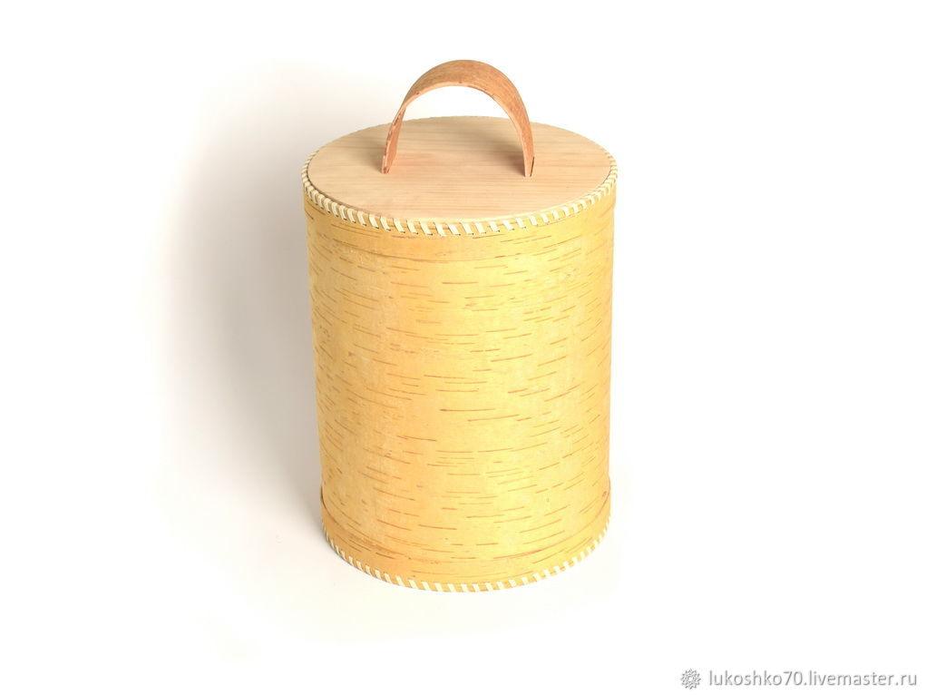 Box of birch bark 'Super'. Capacity for flour, sugar, cereals, Utensils, Tomsk,  Фото №1