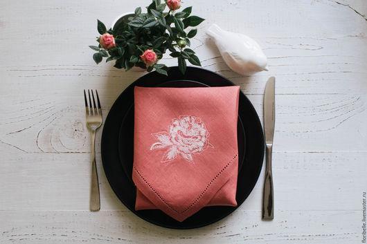 """Текстиль, ковры ручной работы. Ярмарка Мастеров - ручная работа. Купить Салфетки с вышивкой """"Розовый пион"""". Handmade. Коралловый, нитки"""