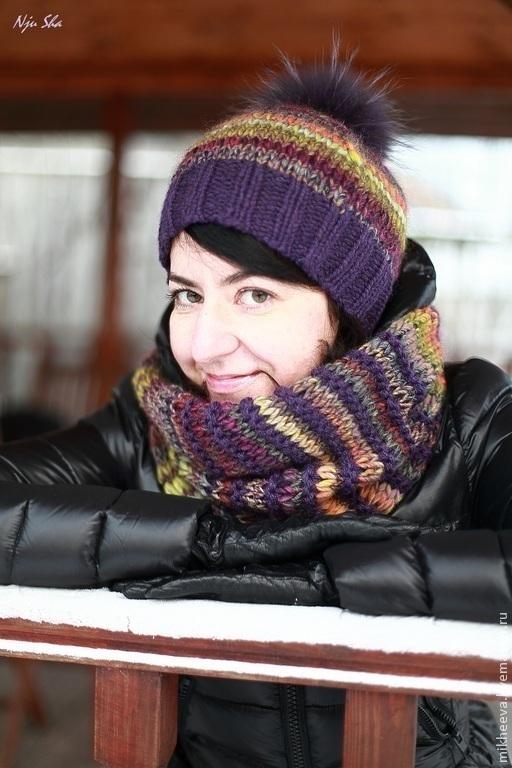 """Шапки ручной работы. Ярмарка Мастеров - ручная работа. Купить Комплект  """"Winter Rainbow"""", шапка и снуд. Handmade. В полоску"""
