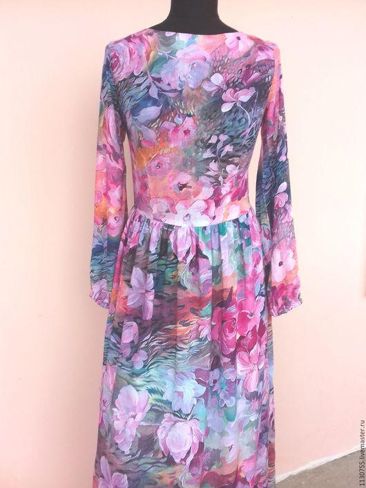 """Платья ручной работы. Ярмарка Мастеров - ручная работа. Купить Платье  в пол, платье миди """"летняя сказка"""" из штапеля. Handmade."""