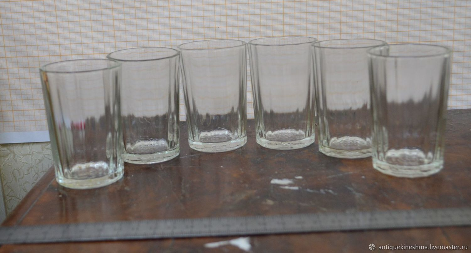 Stacks faceted set of 6 pieces of the USSR, Vintage glasses, Kineshma,  Фото №1