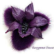Украшения ручной работы. Ярмарка Мастеров - ручная работа Орхидея из кожи и меха фиолет. Handmade.