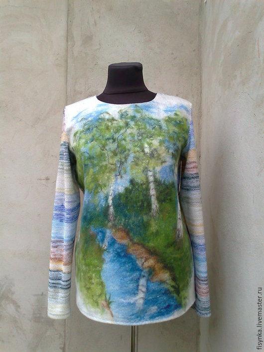 Кофты и свитера ручной работы. Ярмарка Мастеров - ручная работа. Купить свитерок валяно-вязаный. Handmade. Разноцветный, свитер с рисунком