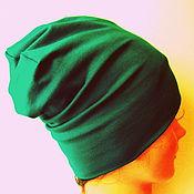 """Одежда ручной работы. Ярмарка Мастеров - ручная работа шапка муж/жен (шапка-носок) яркозелен """"Малахит"""". Handmade."""