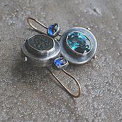 Украшения handmade. Livemaster - original item Antique and gemstone earrings, silver, goldfield and gold. Handmade.