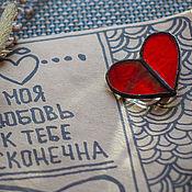 Brooches handmade. Livemaster - original item Glass Classic heart Brooch for Valentine`s day. Handmade.