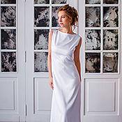 Одежда ручной работы. Ярмарка Мастеров - ручная работа Белое атласное длинное платье Минимализм. Handmade.