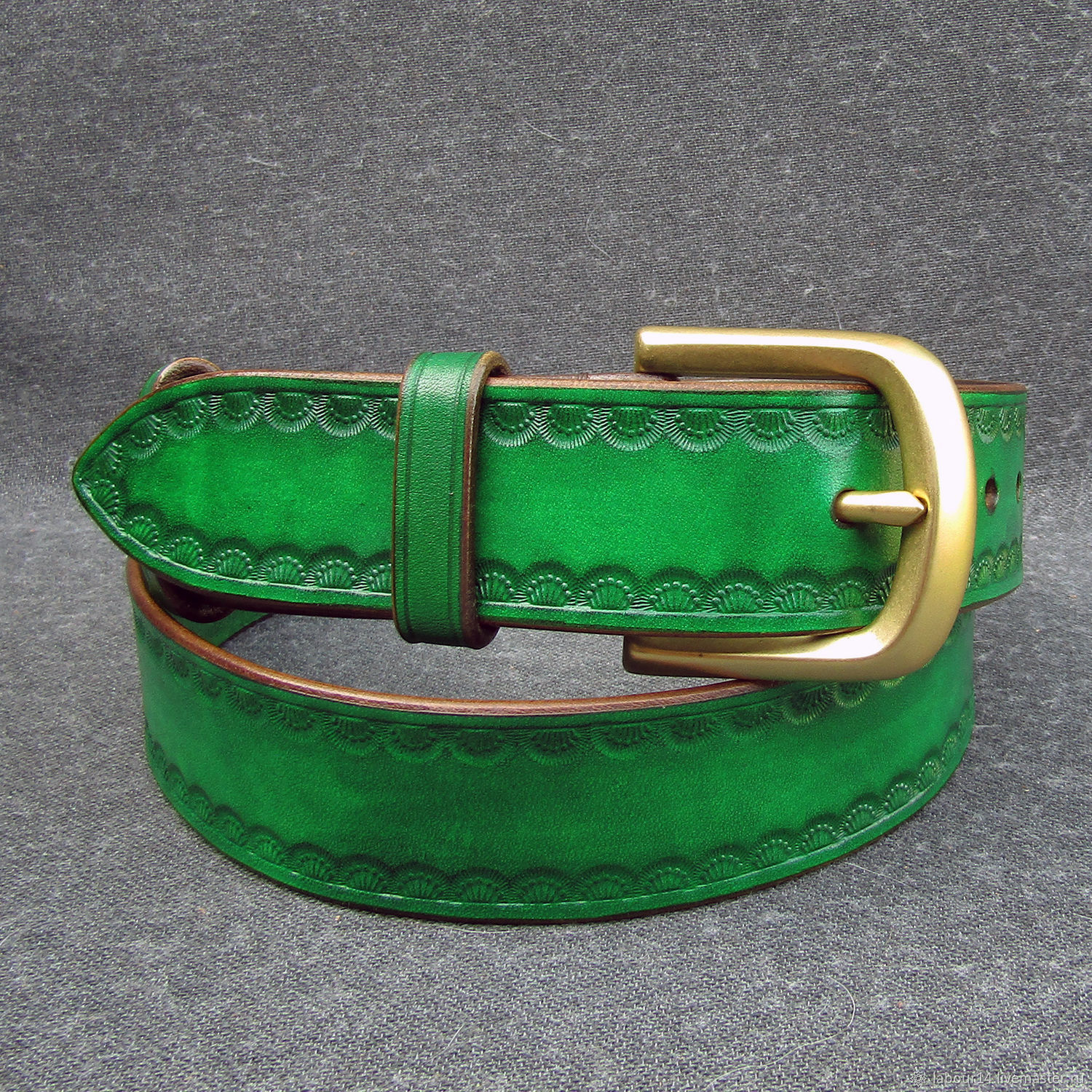 Leather belt with embossed mod.Flower crown, Irish green, Straps, Sevsk,  Фото №1