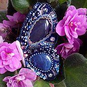Украшения ручной работы. Ярмарка Мастеров - ручная работа Парные броши - синие бабочки. Вышивка бисером. Handmade.