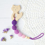 Одежда handmade. Livemaster - original item Teether-teething toy with a cat (or Fox) purple bright. Handmade.
