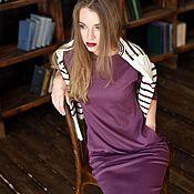 """Одежда ручной работы. Ярмарка Мастеров - ручная работа Платье базовое трикотажное """"Дэйзи"""" черника. Handmade."""