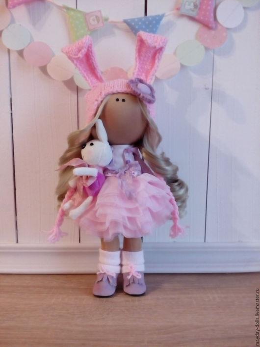 Куклы тыквоголовки ручной работы. Ярмарка Мастеров - ручная работа. Купить Текстильная интерьерная кукла  Лика. Handmade. Бледно-розовый